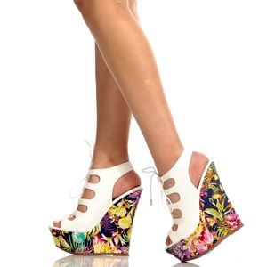 Dollhouse Believe Floral Lace Up Wedge Heel Sandal